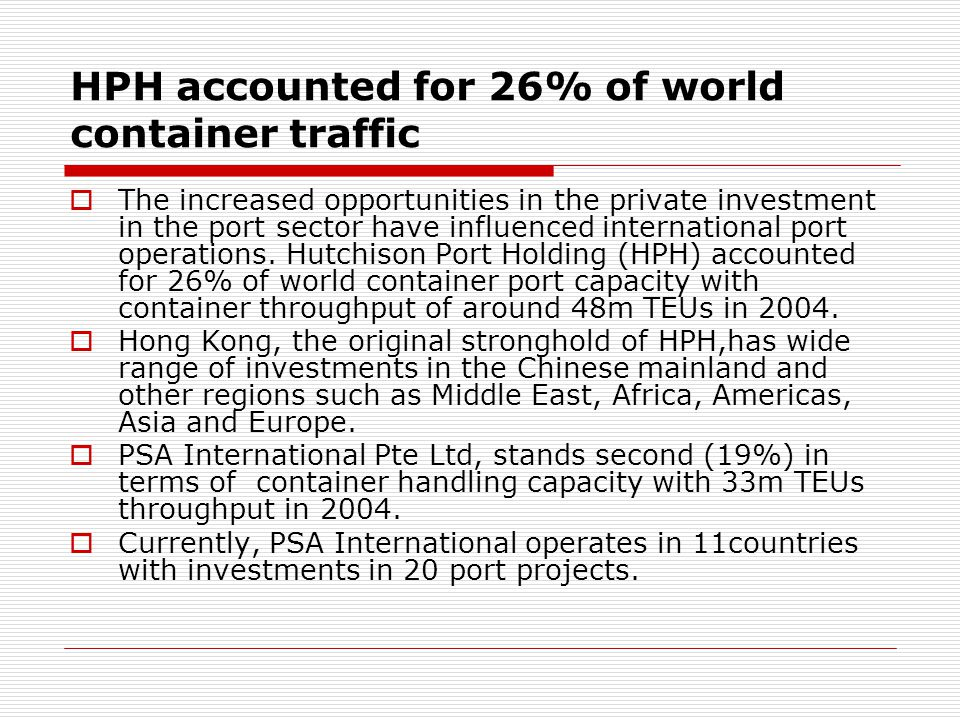 HPH accounted for 26% of world container traffic