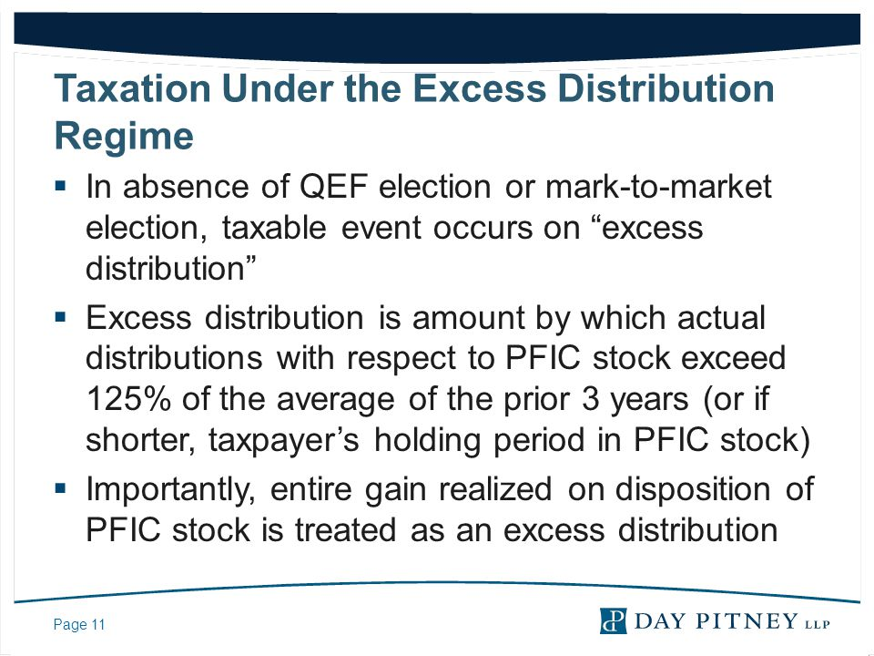 Taxation Under the Excess Distribution Regime
