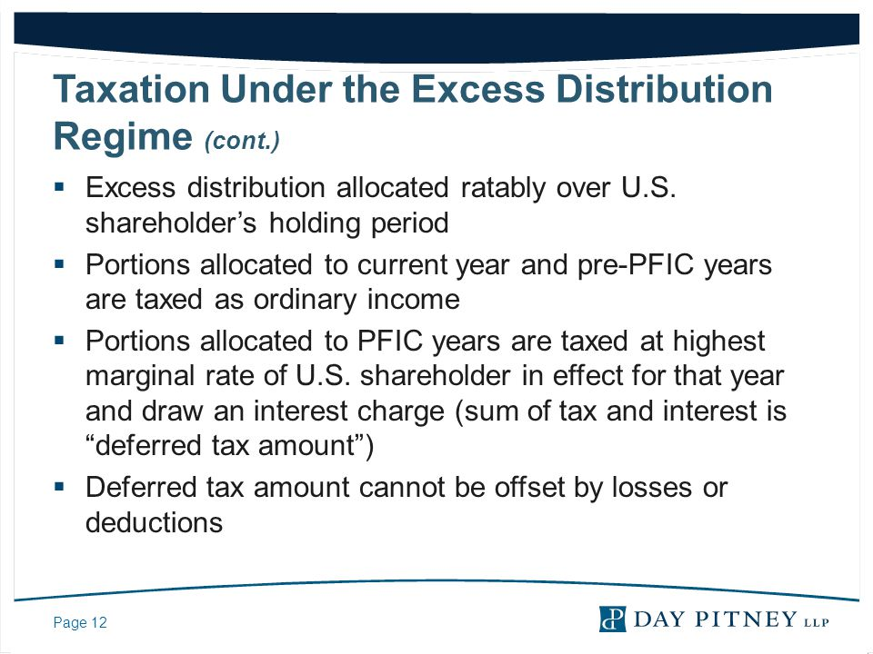 Taxation Under the Excess Distribution Regime (cont.)