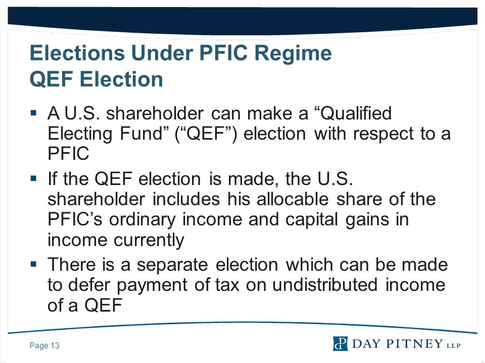 Elections Under PFIC Regime QEF Election