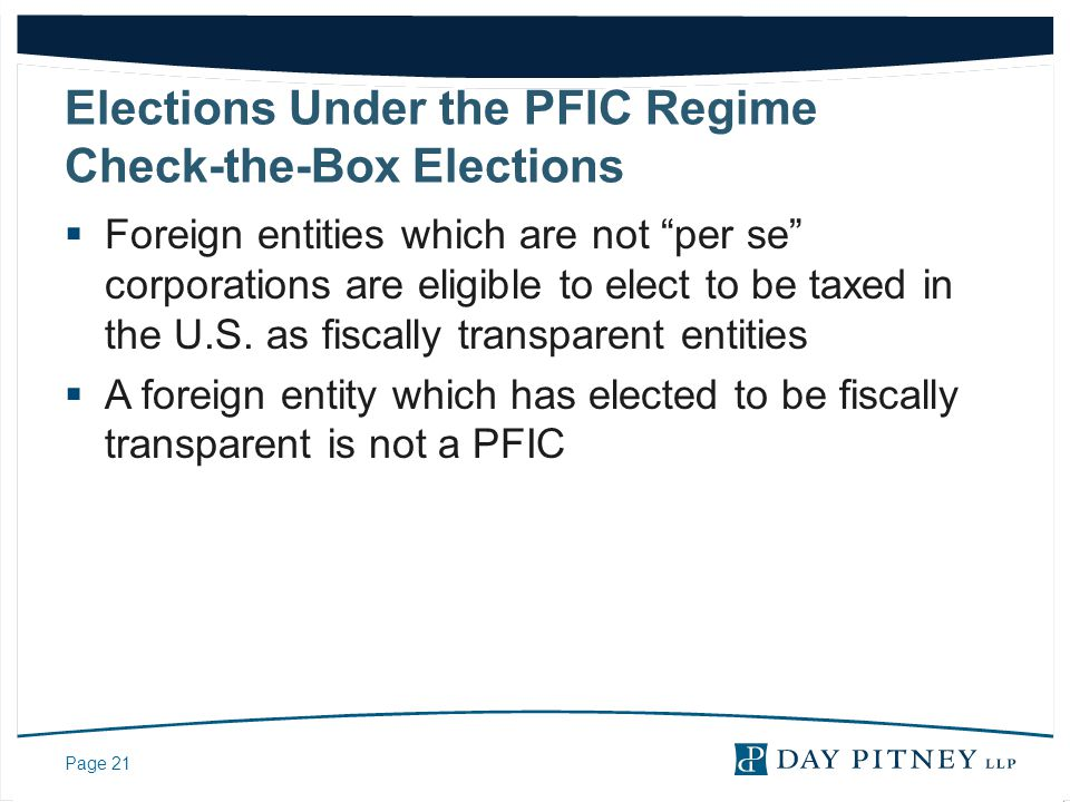 Elections Under the PFIC Regime Check-the-Box Elections