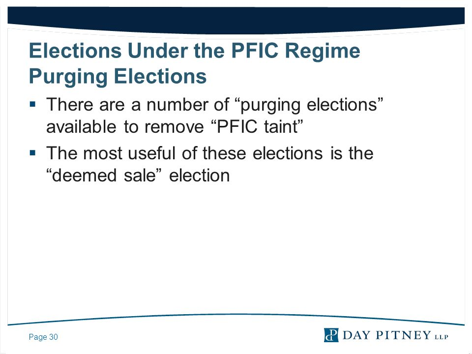 Elections Under the PFIC Regime Purging Elections