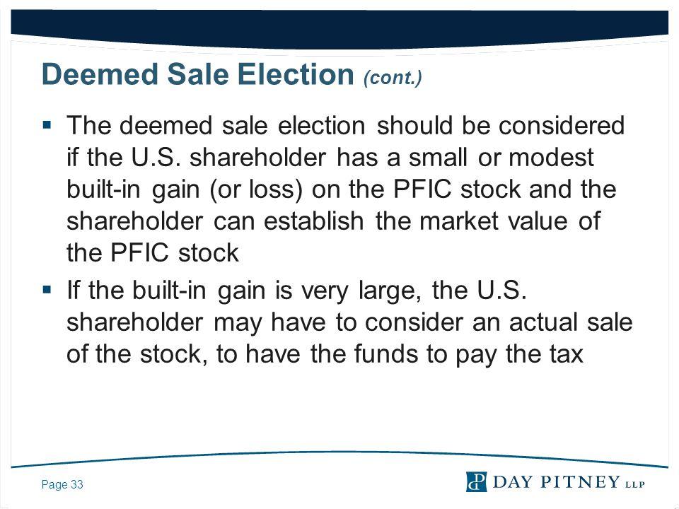 Deemed Sale Election (cont.)