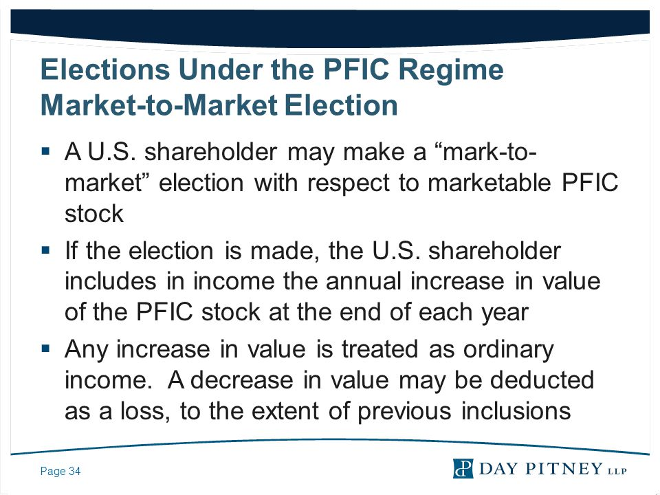 Elections Under the PFIC Regime Market-to-Market Election