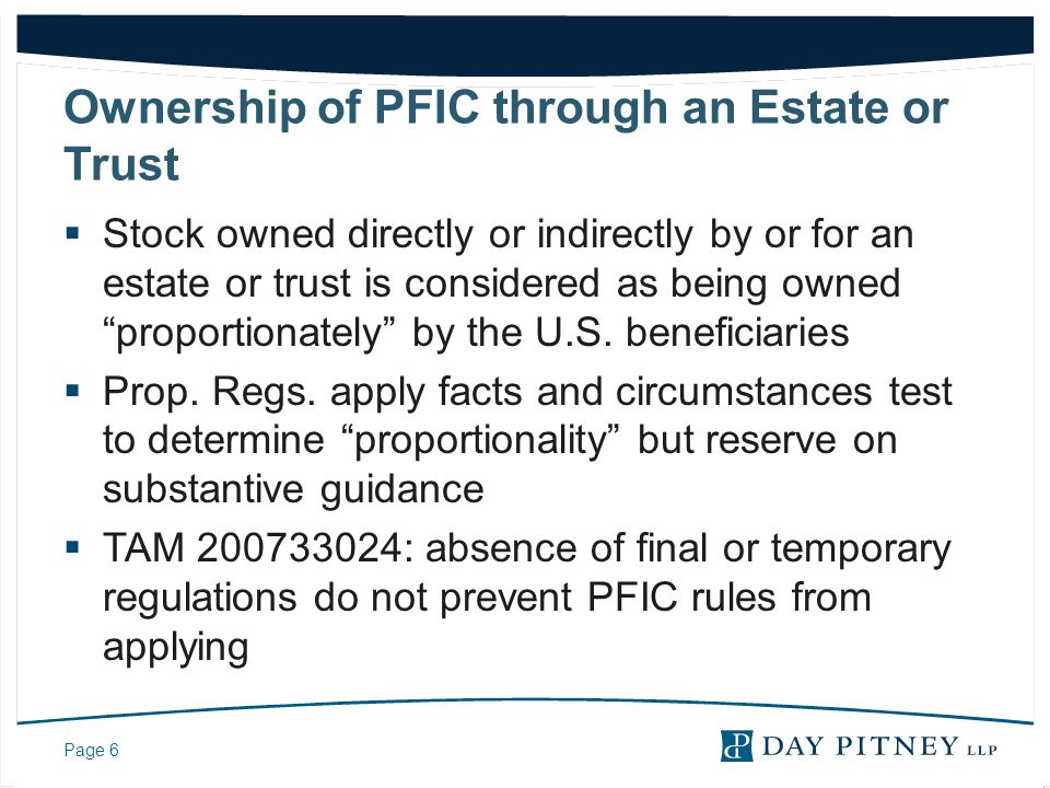 Ownership of PFIC through an Estate or Trust
