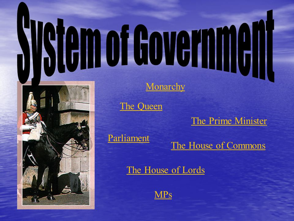 System of Government Monarchy The Queen The Prime Minister Parliament