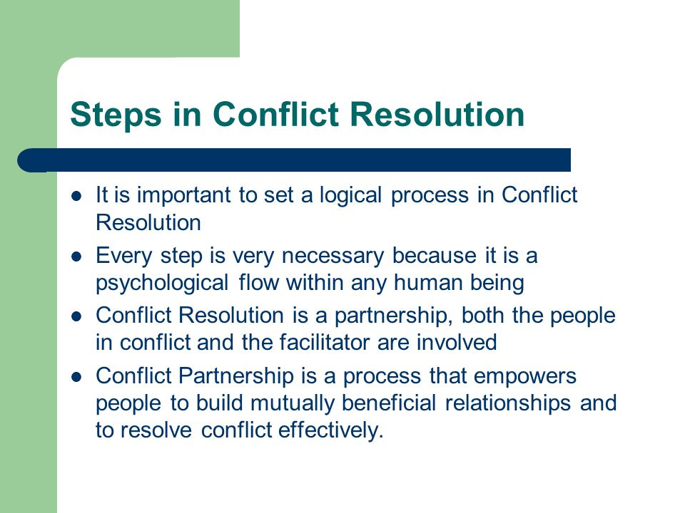 Steps in Conflict Resolution