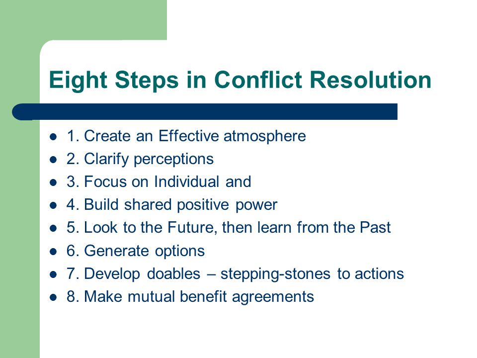 Eight Steps in Conflict Resolution
