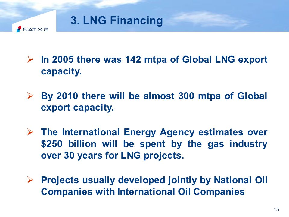 3. LNG Financing In 2005 there was 142 mtpa of Global LNG export capacity. By 2010 there will be almost 300 mtpa of Global export capacity.