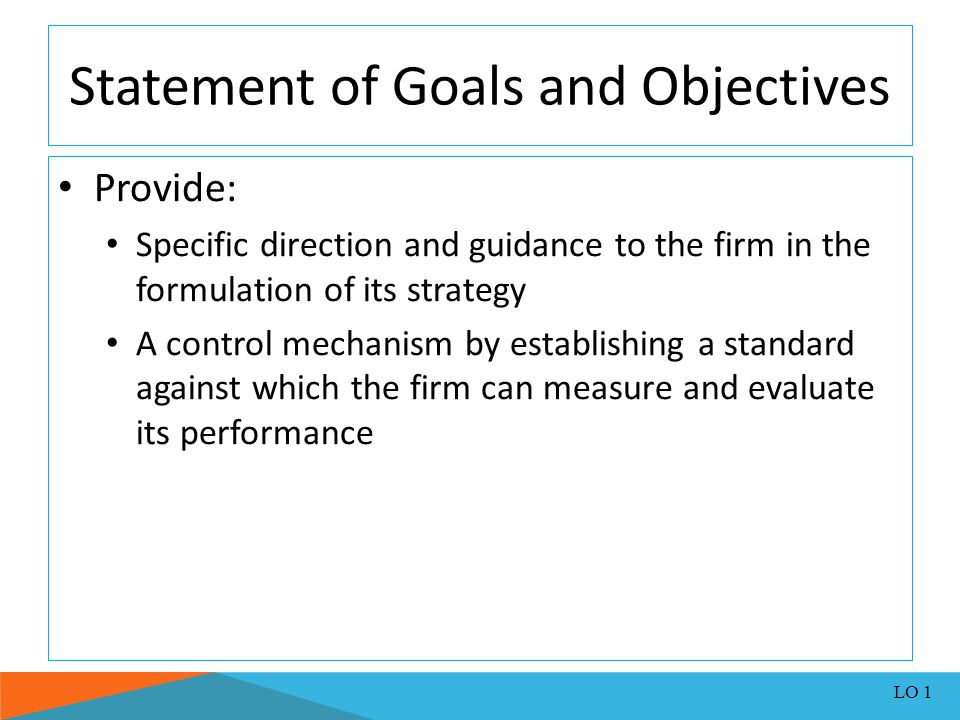 Statement of Goals and Objectives