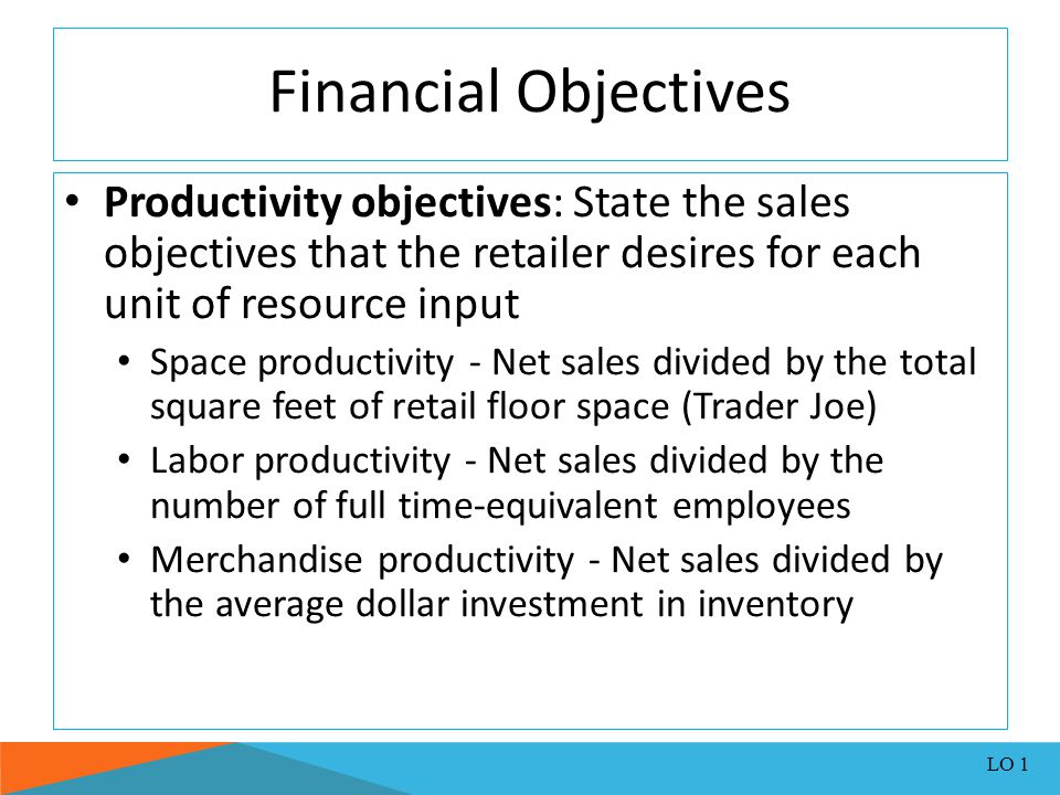 Financial Objectives Productivity objectives: State the sales objectives that the retailer desires for each unit of resource input.