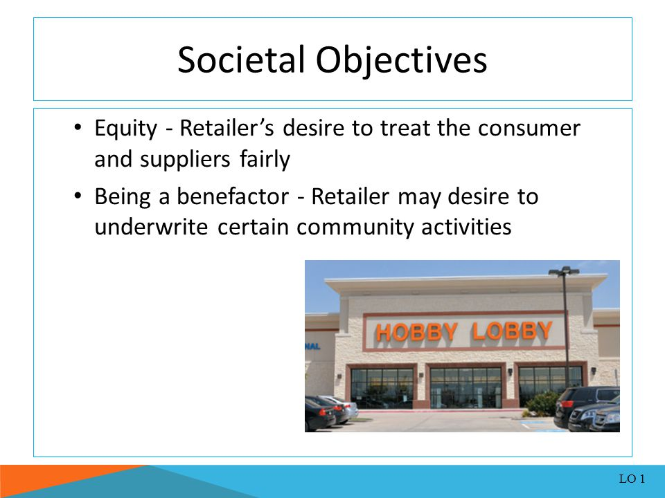 Societal Objectives Equity - Retailer's desire to treat the consumer and suppliers fairly.