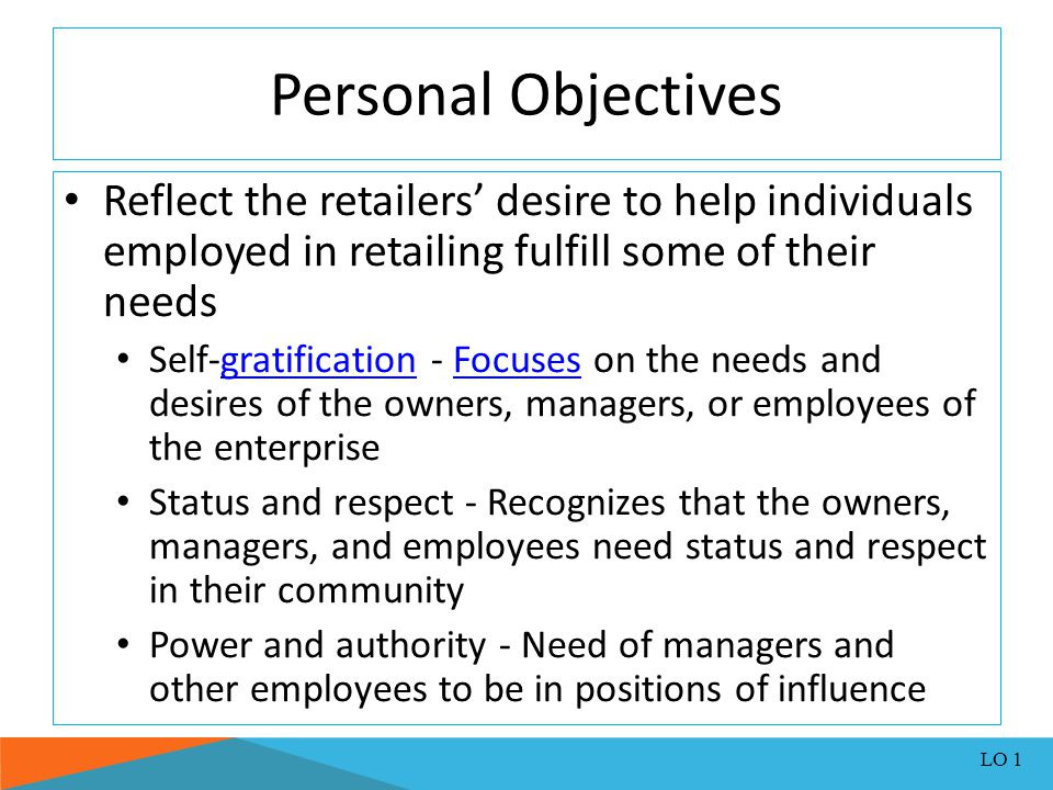 Personal Objectives Reflect the retailers' desire to help individuals employed in retailing fulfill some of their needs.