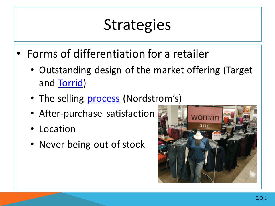 Strategies Forms of differentiation for a retailer