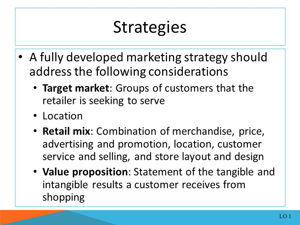 Strategies A fully developed marketing strategy should address the following considerations.
