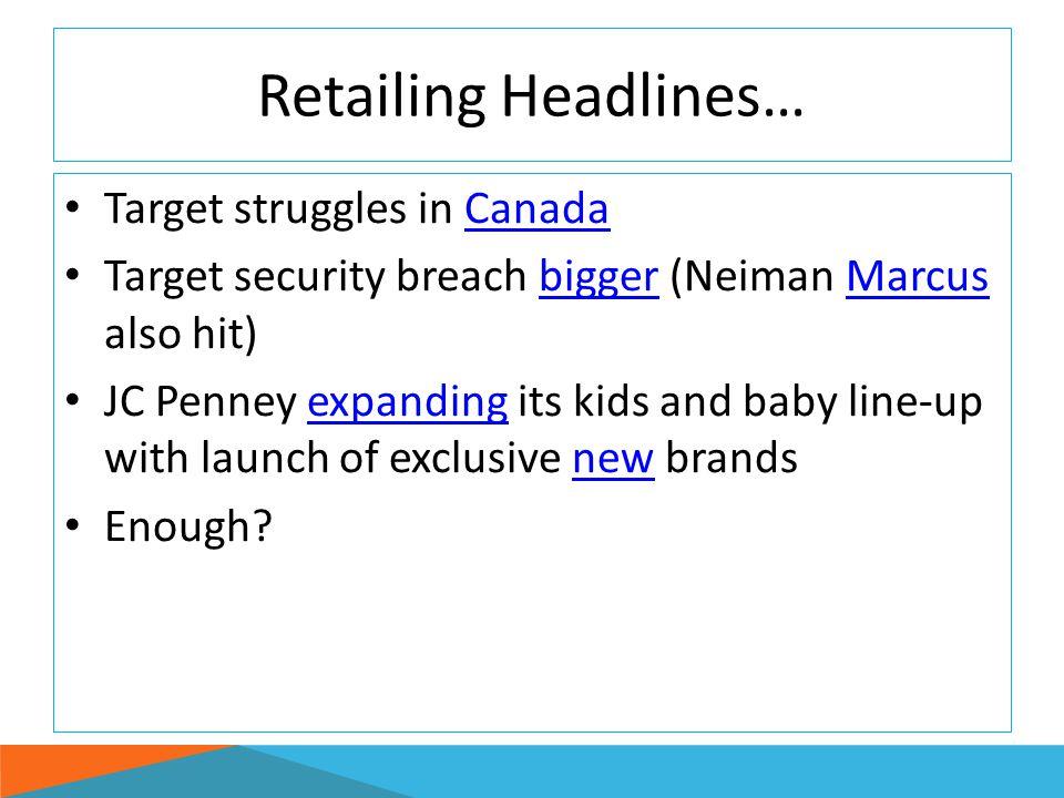 Retailing Headlines… Target struggles in Canada