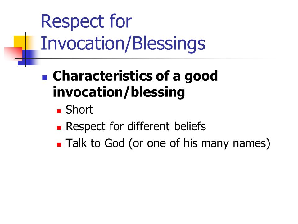 Respect for Invocation/Blessings
