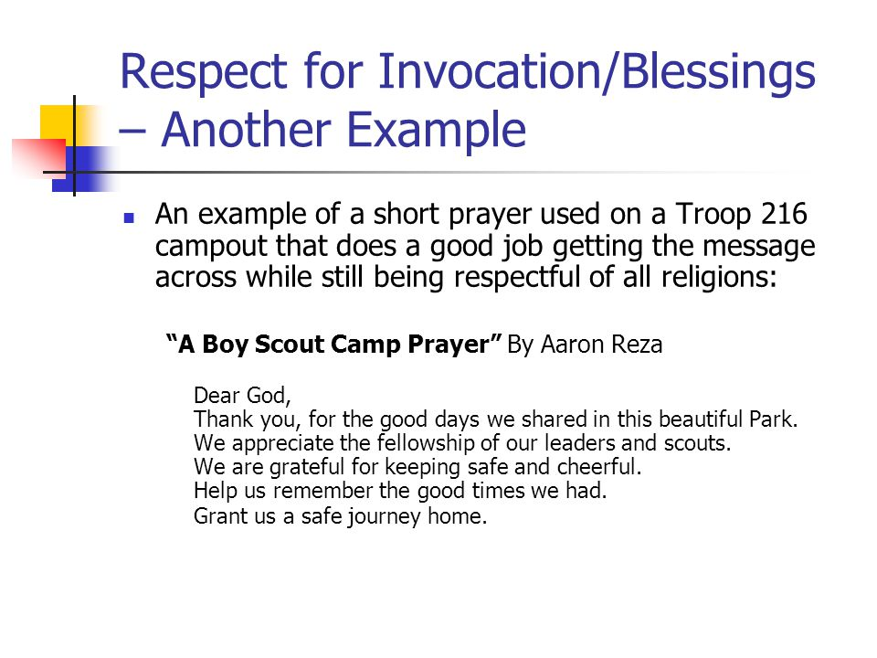 Respect for Invocation/Blessings – Another Example