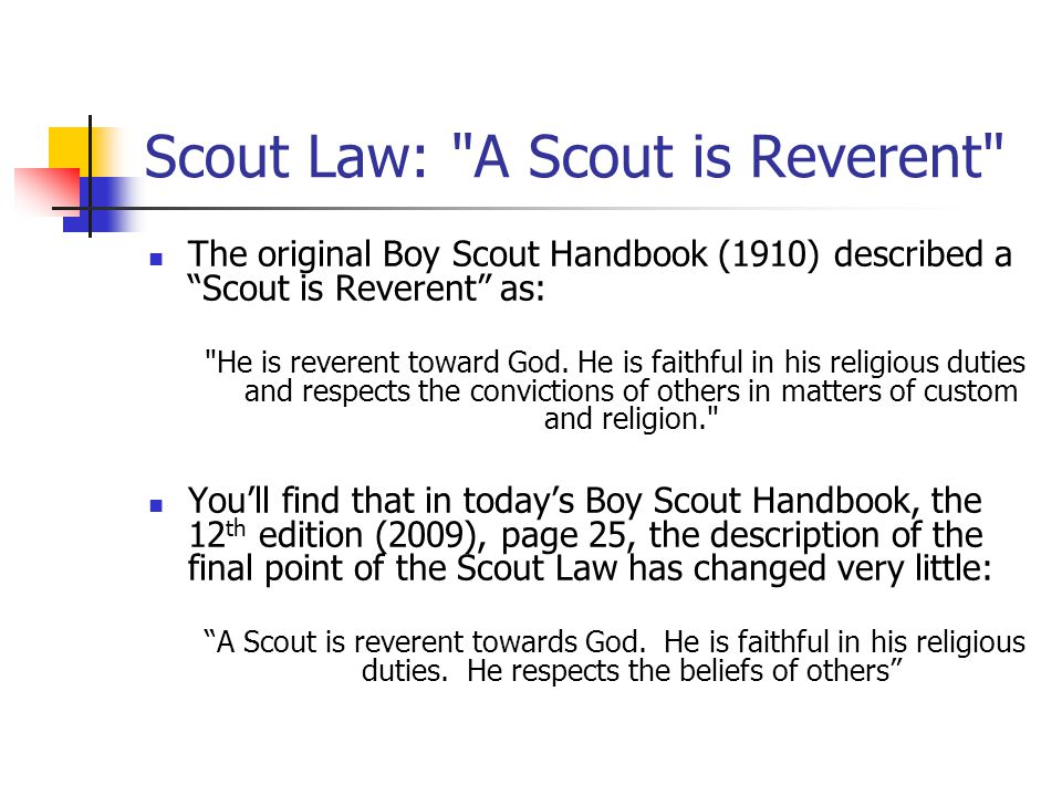 Scout Law: A Scout is Reverent