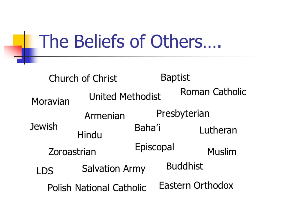 The Beliefs of Others…. Church of Christ Baptist Roman Catholic