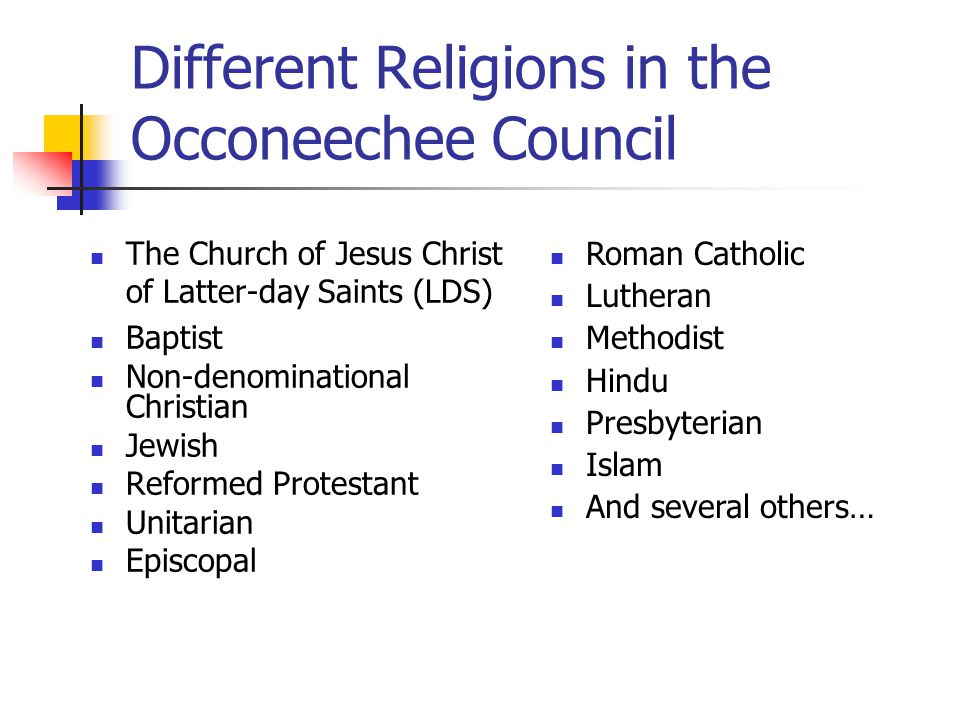 Different Religions in the Occoneechee Council