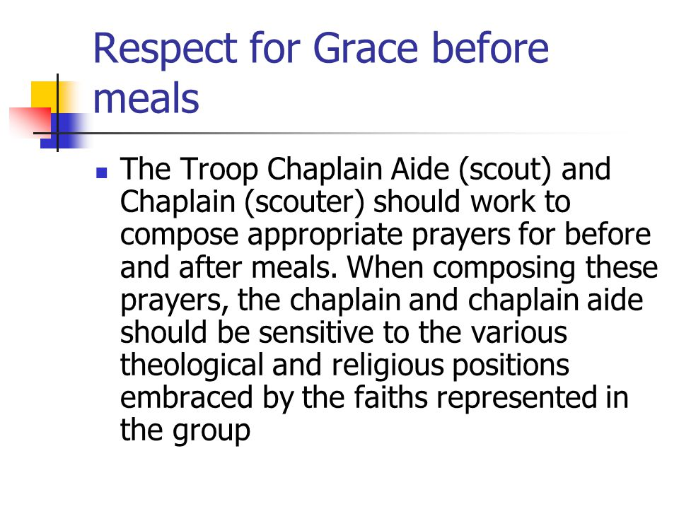 Respect for Grace before meals
