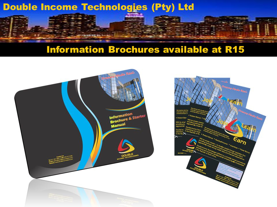 Information Brochures available at R15
