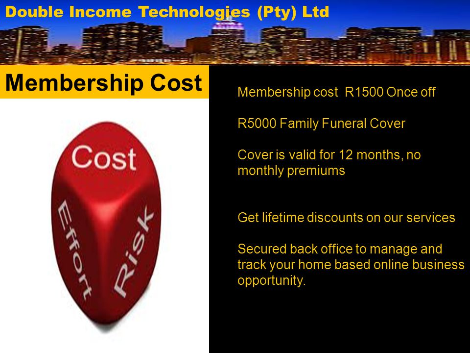 Membership Cost Double Income Technologies (Pty) Ltd