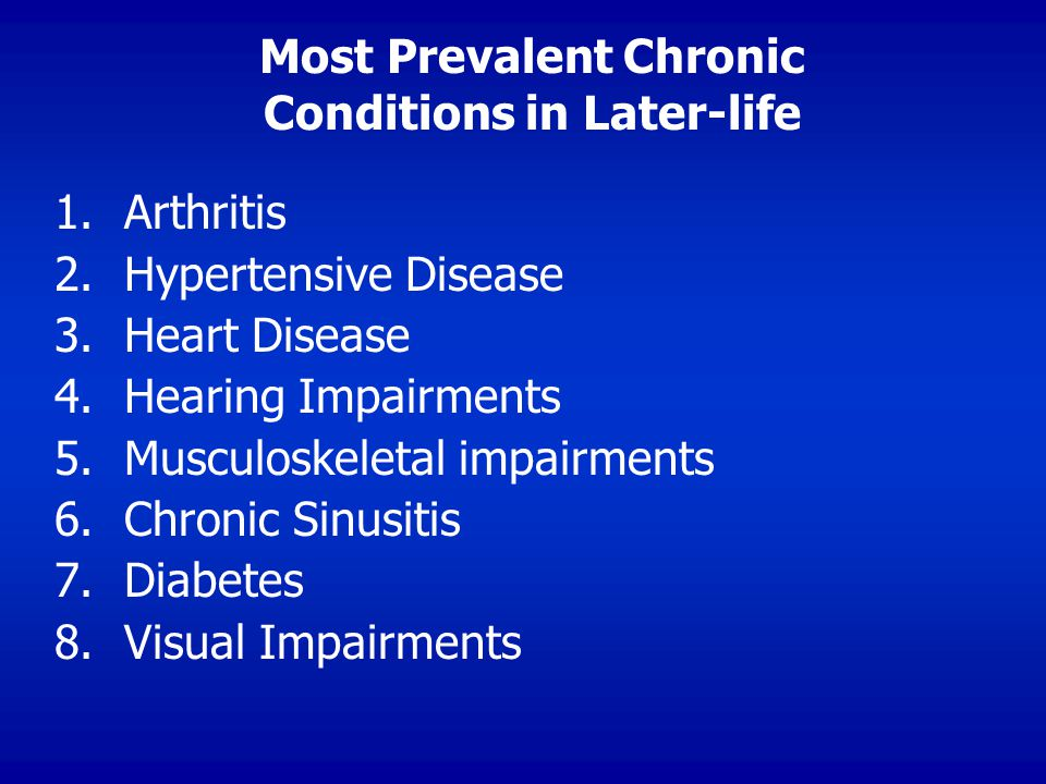 Most Prevalent Chronic Conditions in Later-life