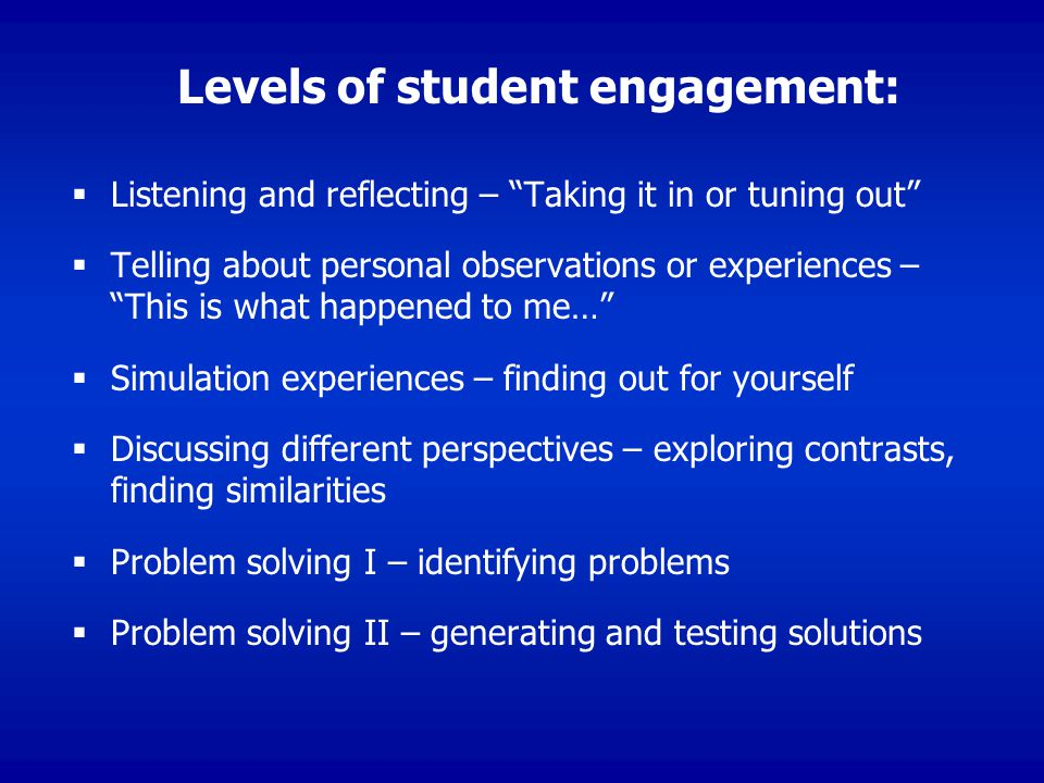 Levels of student engagement: