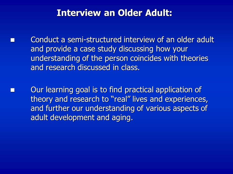 Interview an Older Adult: