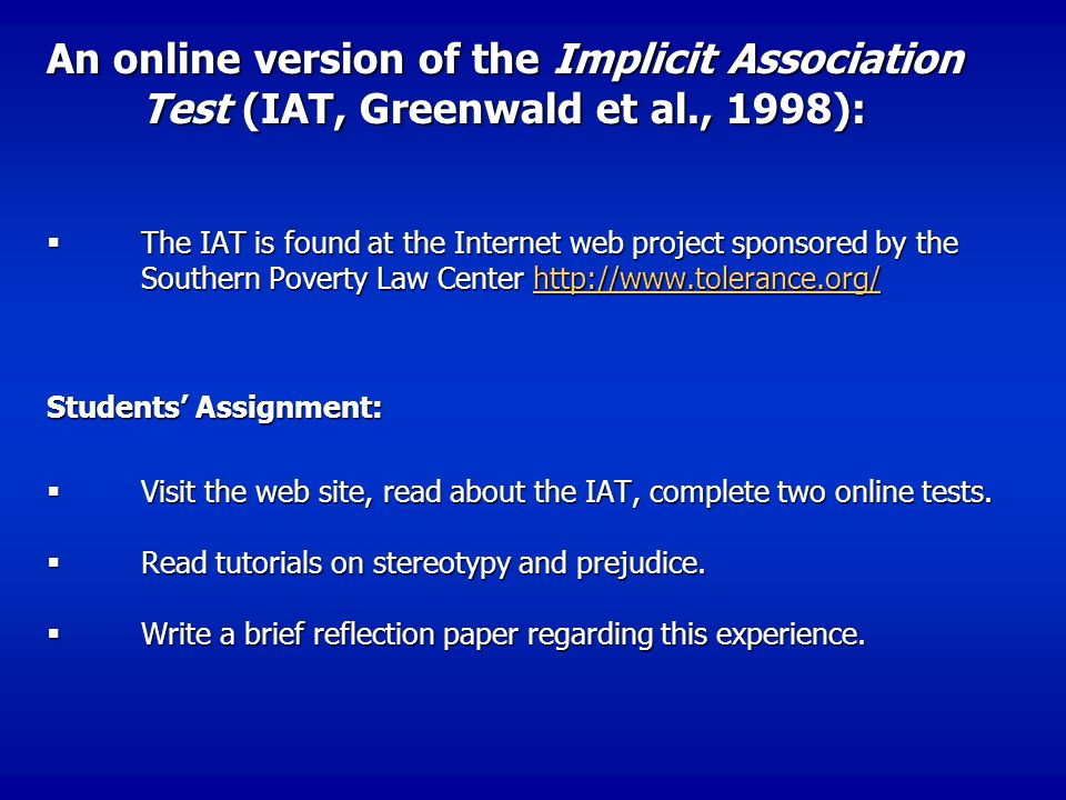 An online version of the Implicit Association Test (IAT, Greenwald et al., 1998):