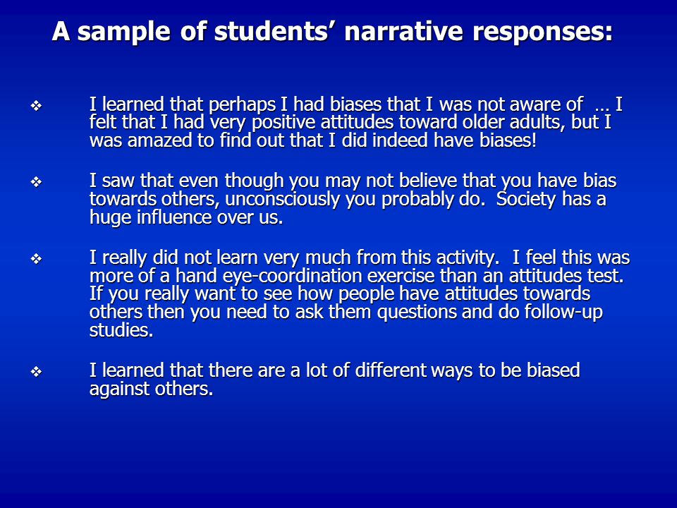 A sample of students' narrative responses:
