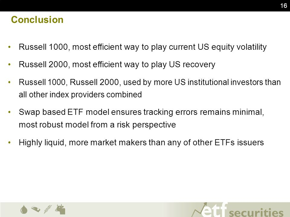 Conclusion Russell 1000, most efficient way to play current US equity volatility. Russell 2000, most efficient way to play US recovery.