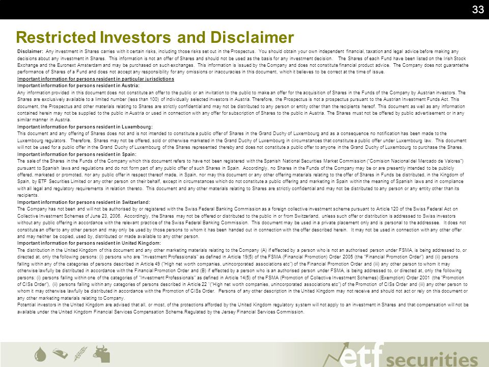Restricted Investors and Disclaimer