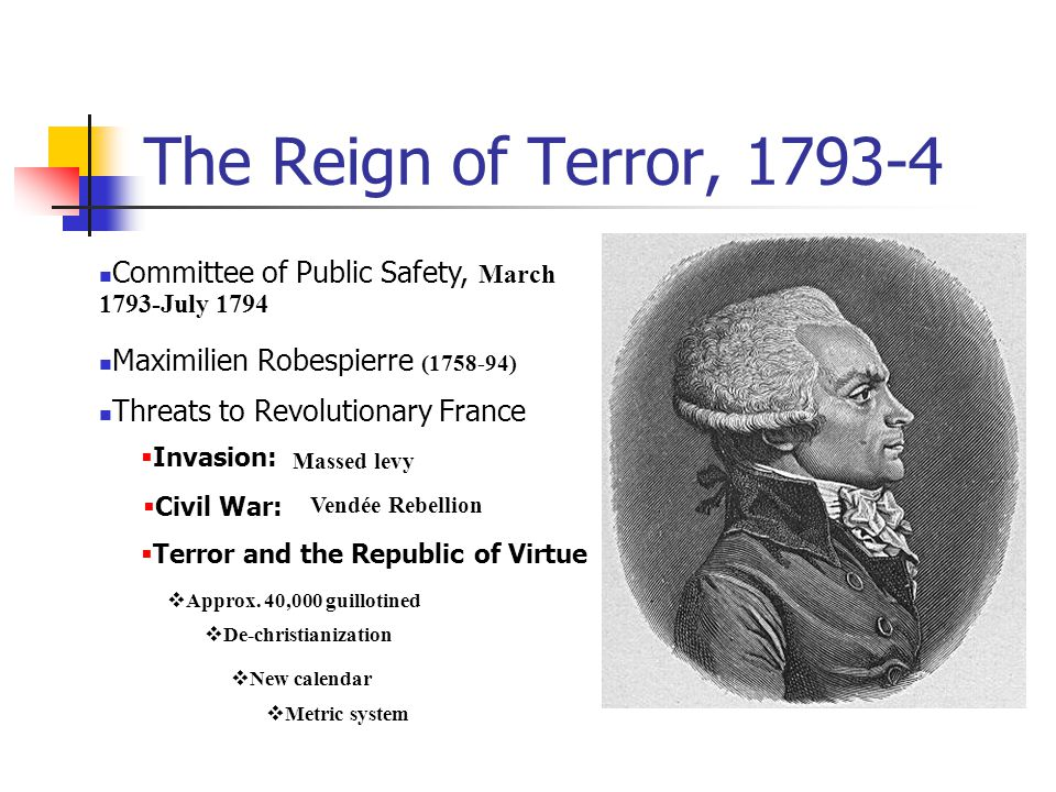 The Reign of Terror, 1793-4 Committee of Public Safety, March 1793-July 1794. Maximilien Robespierre (1758-94)