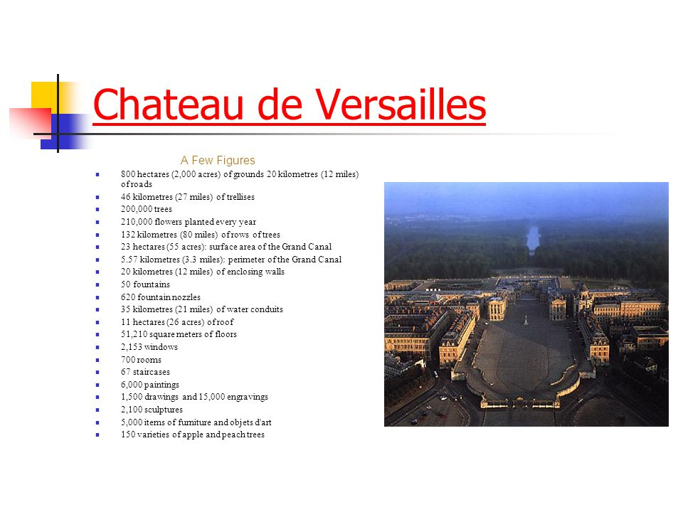 Chateau de Versailles A Few Figures. 800 hectares (2,000 acres) of grounds 20 kilometres (12 miles) of roads.