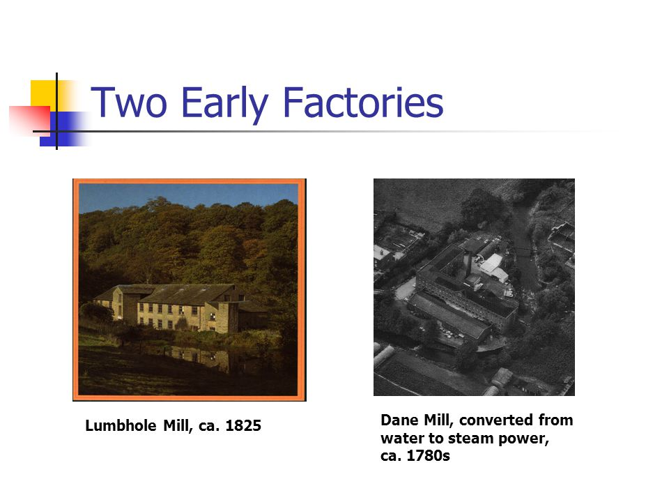 Two Early Factories Dane Mill, converted from Lumbhole Mill, ca. 1825