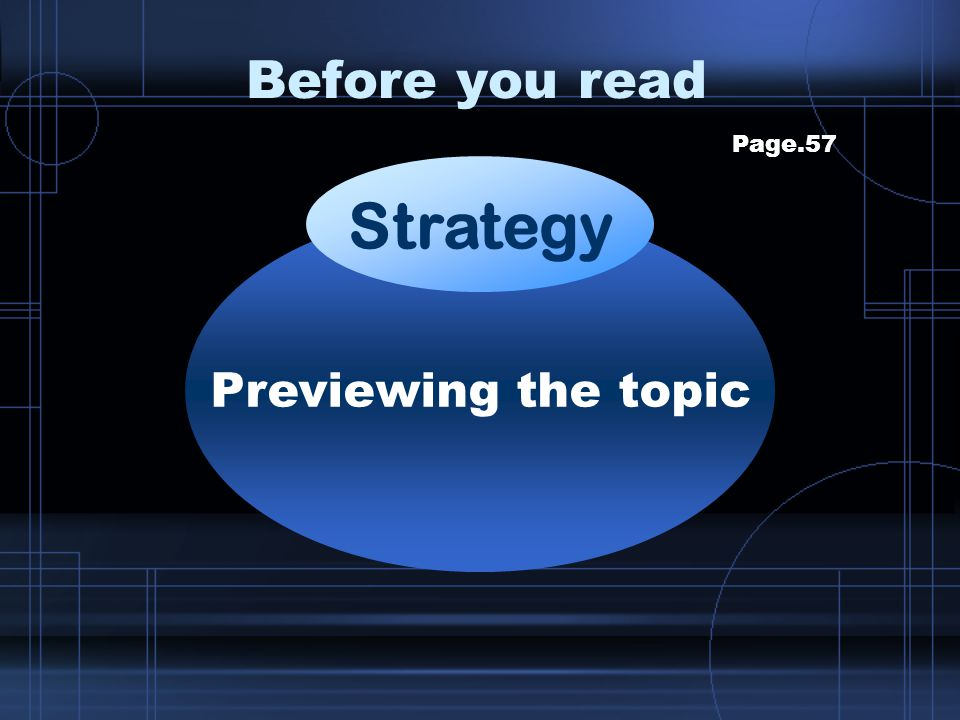 Before you read Page.57 Strategy Previewing the topic