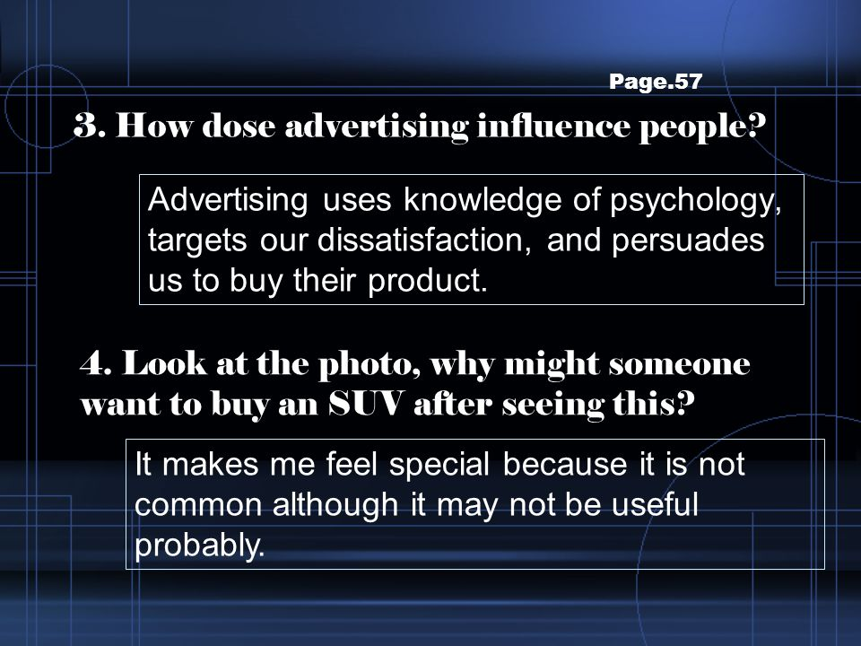 3. How dose advertising influence people