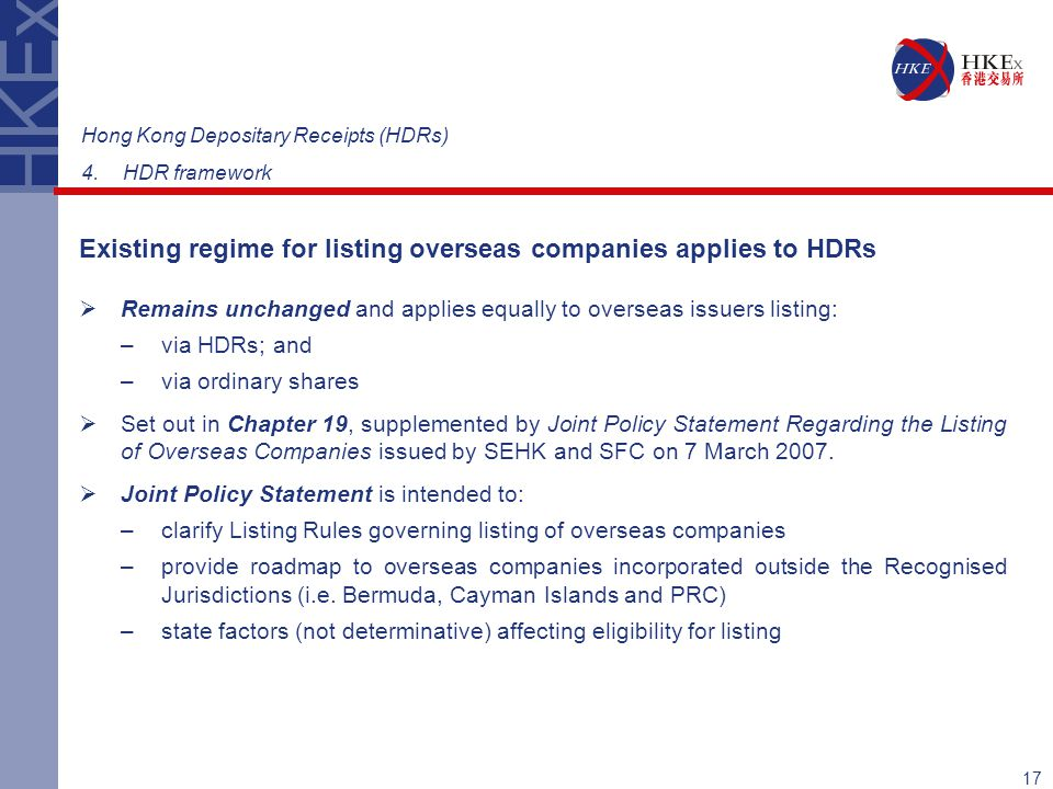 Existing regime for listing overseas companies applies to HDRs