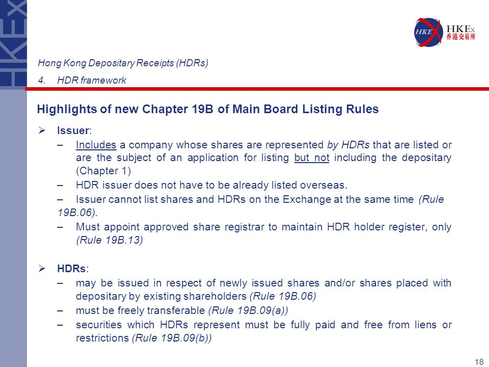 Highlights of new Chapter 19B of Main Board Listing Rules