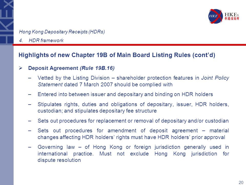Highlights of new Chapter 19B of Main Board Listing Rules (cont'd)