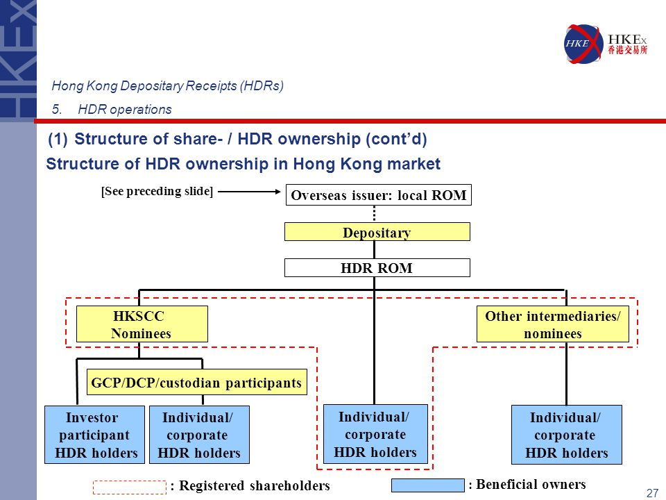 (1) Structure of share- / HDR ownership (cont'd)
