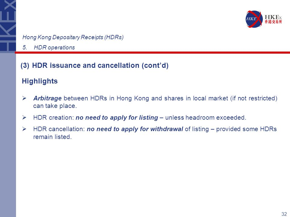 (3) HDR issuance and cancellation (cont'd)