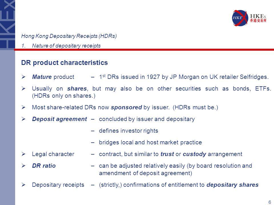DR product characteristics