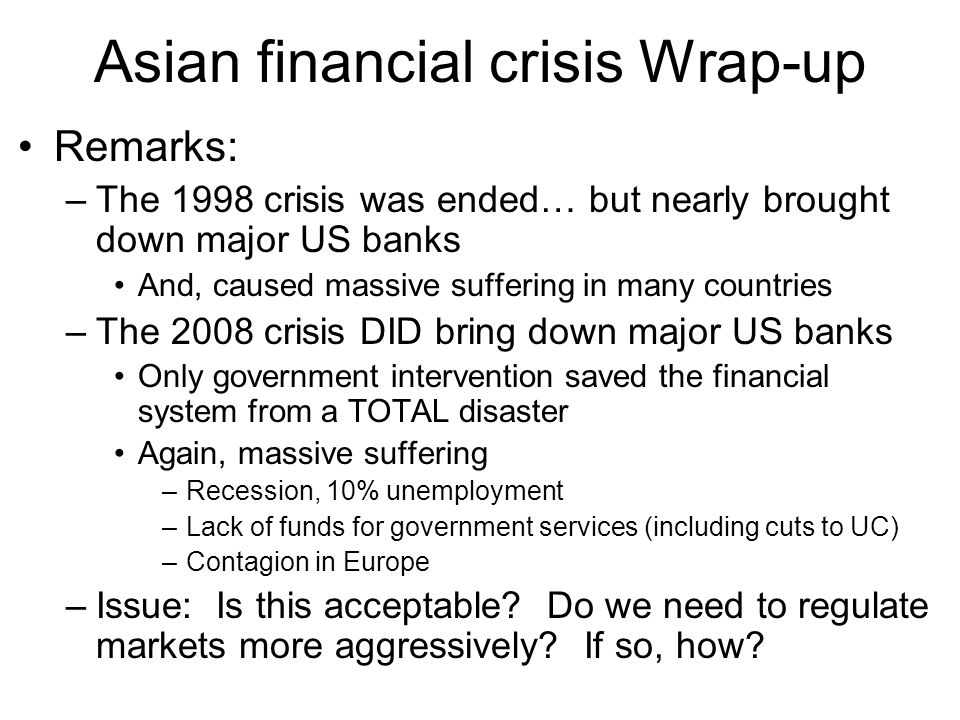 Asian financial crisis Wrap-up