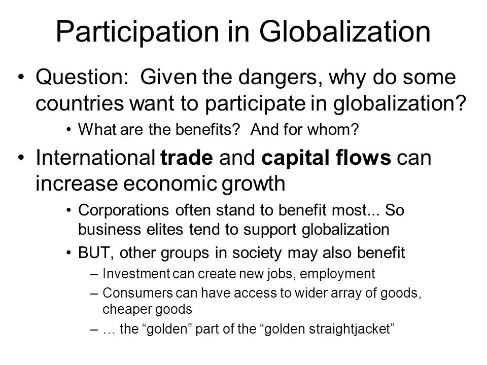 Participation in Globalization