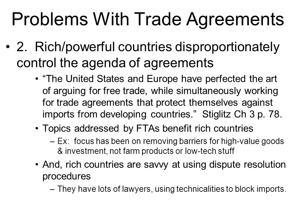 Problems With Trade Agreements
