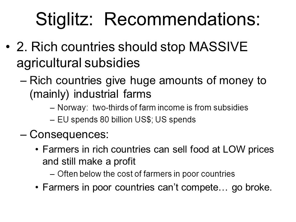 Stiglitz: Recommendations: